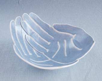 RECEIVING hands bowl, life size grey blue glaze porcelain bowl candle bowl giving bowl begging bowl ceremony bowl bathroom bowl zen decor