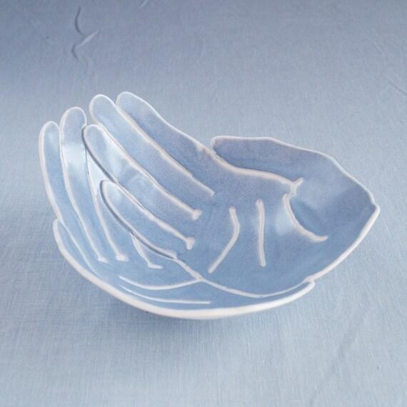 RECEIVING HANDS bowl, grey blue glaze porcelain bowl candle bowl giving bowl serving bowl begging bowl ceremony bowl bathroom bowl zen decor