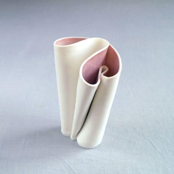 UNFOLDING No6 white porcelain vase, white glaze, celadon glaze, artisan vase, freeform vase, sculpted vase, sculptural vase