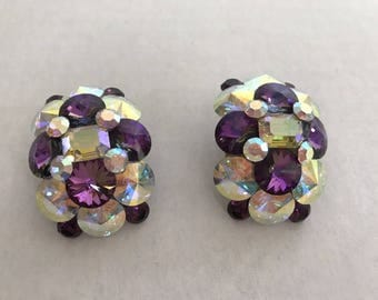 Vintage 1980s Purple and Aurora Borealis Large Gaudy Clip On Earrings