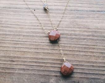 Summer Solstice Sale Sunstone Necklace // Goldstone // Southwest Lariat // Gemstone // 14k Gold // Dendritic Agate //Summer Bride // Bohemia