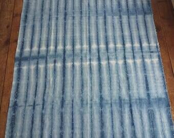 Linen indigo shibori tablecloth