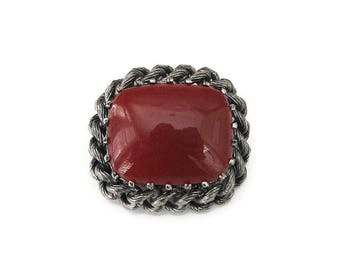 Austria Red Modernist Brooch - Carnelian Glass, Silver Tone, Twist Rope, Vintage Brooch, Austrian Jewelry, Gifts for Her