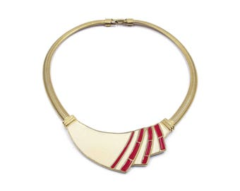 Trifari Enamel Necklace - Red, Cream, Gold Tone, Snake Chain, Statement Necklace, Modernist Jewelry, 1980s Vintage