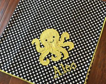 Octopus Baby Blanket - Personalized Baby Blanket- Minky Baby Blanket- Chevron Minky Blanket- Sea Animal Blanket
