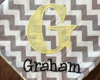 Personalized Baby Blanket- Personalized Nursery Blanket- Chevron Blanket- Baby Blanket- Minky Baby Blanket