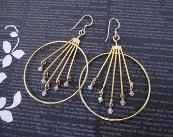 White Opal & Gold Earrings -- Hoops with White Beads -- White Crystal Hoops -- White Bead and Gold Hoops -- White Stick Earrings --Swarovski