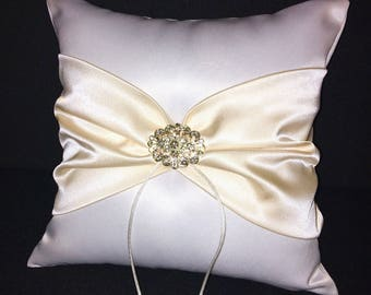 Cream and White with Rhinestone Accent  Wedding Ring Bearer Pillow