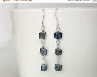 Summer Sale Dangle earrings blue beads earrings long earrings minimalist silver earrings women