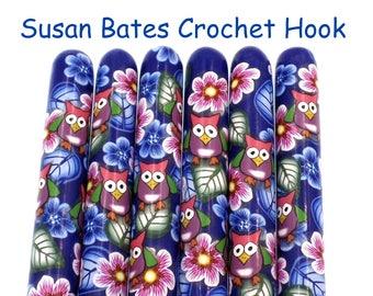 Crochet Hook, Polymer Clay Covered Susan Bates Crochet Hook, Night Owl, Woodland, Forest