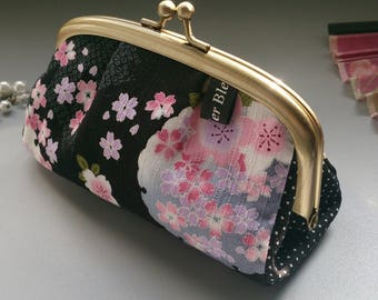 Black pink white & blue metal frame coin purse - Mina