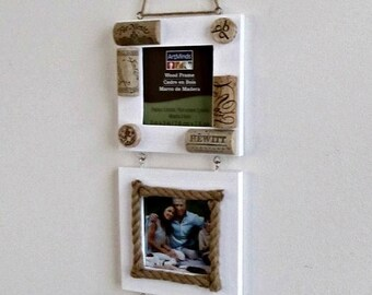 """ON SALE Wine Cork and Twine Farmhouse Frames - 3 White Frames with Glass Inserts - 3"""" x 3"""" Photo Holders"""