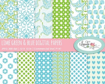 50%OFF Digital paper, lime green and blue digital paper, scrapbook paper, patterned paper, commercial use digital paper, P141