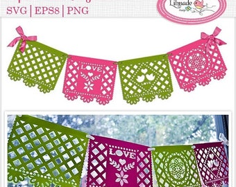 50%OFF Svg cutting files, svg wedding banner, svg papel picado banner, svg party templates, bunting, pennant template, P64