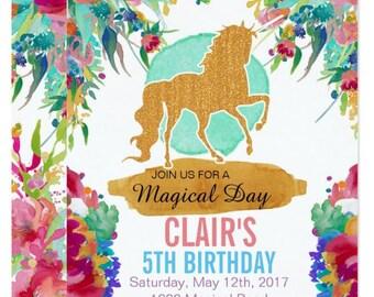 Unicorn Birthday Invitation - Floral Unicorn Party Invitation - Unicorn Floral Invite - Magical Party