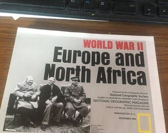 1991 National Geographic map World War II Europe and North Africa.