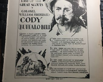 Buffalo Bill Cody the last of the great scouts 1933 book page removed ftom a damaged book. Art  history