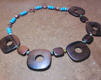 Geometric Wood and Turquoise Necklace with Copper