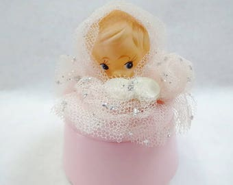 Sweet Vintage Nursery Pink Baby Girl Doll Musical Jewelry Trinket Box Hard Plastic MIJ Factory Decorated