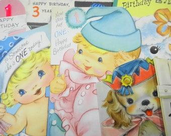 Happy Birthday Childrens Vintage Greeting Cards Lot (13) Each Estate Collection Colorful Graphics Paper Ephemera Clip Snip Crafty Destash