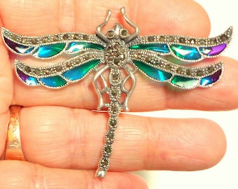 Vintage Dragonfly Brooch, Sterling Silver, Flying Insect, Blue,Green,Purple, Sparkling Marcasite, Stamped,Pristine Condition