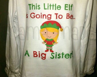 Girl's Christmas Shirt,Christmas Pregnancy Announcement Shirt,Elf Big Sister Shirt, Going to be a big sister Elf Shirt,Christmas Elf Shirt