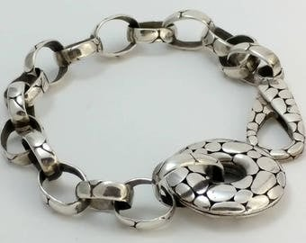 Beautiful Textured Rolo Chainlink Sterling Bracelet Marked 925