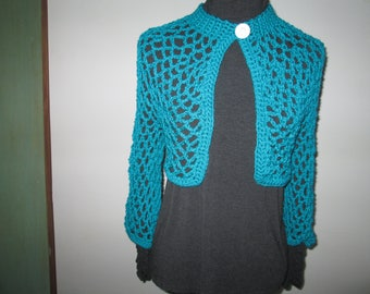 Turquoise Bolero Crochet by SuzannesStitches, Women Turquoise Bolero, Teen Turquoise Shrug, Girls Turquoise Bolero, Elegant Turquoise Bolero