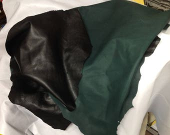 OSM63.  Black and Green Reversible Napa Leather Lambskin