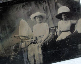 Tintype - Two Young Ladies in Studio Car