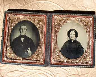 Full Case Double Ambrotypes, Family Patriarch & Matriarch