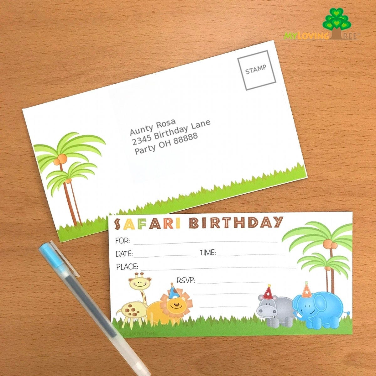 Jungle Safari birthday party invitations with envelopes, Safari ...