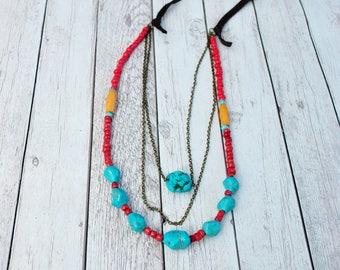 Vilena Necklace - Boho necklace, Bohemian jewelry, turquoise stone
