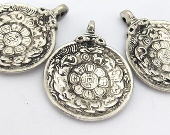 3 Pendants set -  Tibetan Om calendar timeline wheel pendant with antiqued silver finish - CP113s