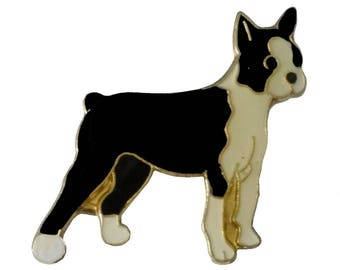 BOSTON TERRIER French Bulldog vintage enamel pin Dog lapel
