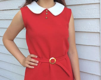 Red Mini Dress Mod Micro 60s Vintage Sleeveless S Annie