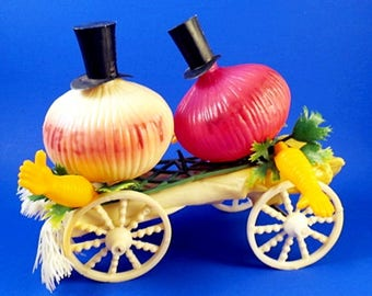 Vintage Salt and Pepper Shakers Plastic Onions in Top Hats Celery Cart Figural