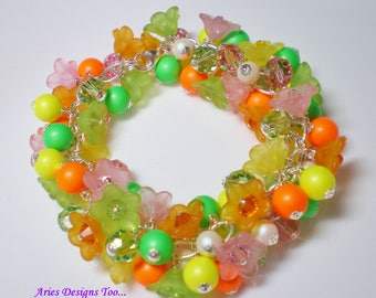 Neon Floral Summer Charm Bracelet in Orange, Yellow, Lime and Pink. Floral Lucite Charm Bracelet in Hot Summer Colors