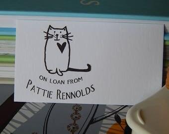 Love My Cat Ex Libris Olive Wood Stamp