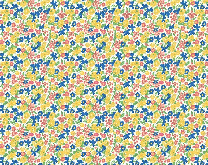 PRE-ORDER - Mae Flowers Fabric by Lindsay Wilkes from The Cottage Mama for Riley Blake Designs and Penny Rose Fabrics - Yellow Tiny Floral
