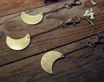 Solid Brass Moon - keychain