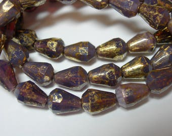 15 Purple Opal with Gold Wash Czech Glass Faceted Teardrop Beads 8x5mm