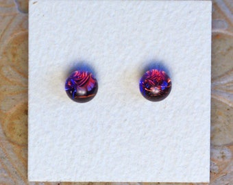Dichroic Glass Earrings, Petite, Purple  DGE-1214