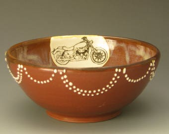 Bowl with motorcycle image