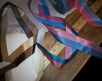 Vintage striped taffeta ribbon in 3 different color combos.