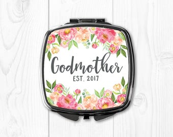 Godmother Gift Ideas Pink Godmother Gift Pink Gift for Godmother Be My Godmother Gift for Godmother Compact Mirror Floral Peach Custom Coral