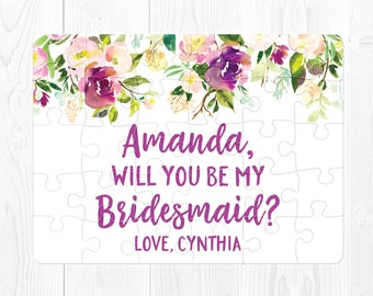 Bridesmaid Proposal Gift Will You Be My Bridesmaid Card Will You Be My Bridesmaid Puzzle Purple Bridesmaid Proposal Gift Ask Bridesmaid Cute