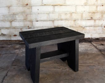 Blackened Classic Step Stool, Wood Stool, Stool for Children, Family Home Decor Gift, Eco-Friendly Reclaimed Wood Bed Step Stool Peg and Awl