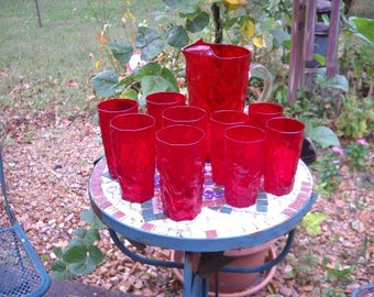 Morgantown Glass Seneca Driftwood Ruby Red Crinkle Pitcher And Matching Tumblers