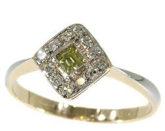ON SALE Original Art Deco natural fancy color diamond engagement ring 18k yellow white gold